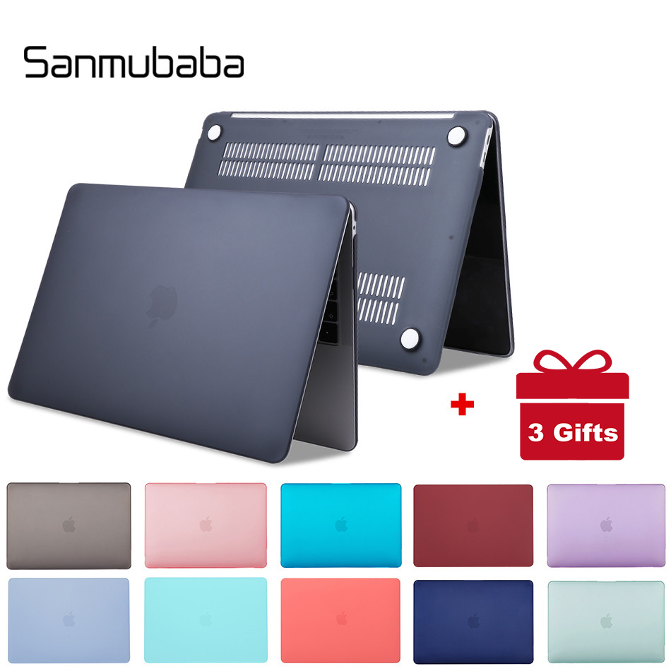 Sanmubaba Laptop Case For Macbook Air Pro Retina 11 12 13 15 Inch With Touch Bar For Mac Book 13.3 15.4 Crystal/Matte Hard Cover