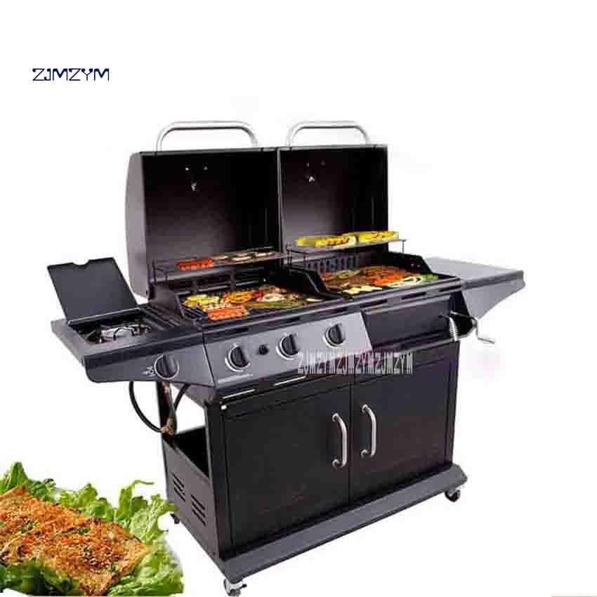 Nouveau BVQ8128 extérieur Villa cour gaz charbon de bois double usage Barbecue Grill ménage Commercial Barbecue Grill 10-20 personnes
