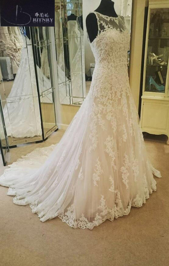 New Design A-Line Lace Wedding Dresses Appliques Scoop Tulle Backless Sexy Vintage Wedding Gowns China Online Shop