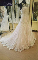 New Design A Line Lace Wedding Dresses Appliques Scoop Tulle Backless Sexy Vintage Wedding Gowns China Online Shop