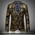 Lujo Men 's Blazers oro impreso chaqueta para hombre 2016 primavera elegante alta calidad marcas hombres de terciopelo traje casado más el tamaño XXXL