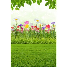 Laeacco Spring Colorful Flowers Leave Grassland Baby Natural Scene Photographic Background Photography Backdrop For Photo Studio