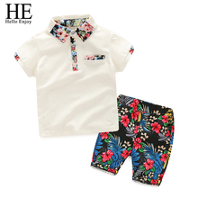 HE Hello Enjoy kids clothes boys summer 2017 clothing sets short sleeves print shirt+flower suits children