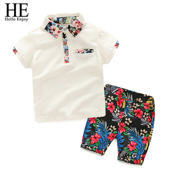 HE Hello Enjoy Kids Boys Clothes Boy Summer Clothing Sets Short Sleeves Print Tops Shirt+Flower Shorts Suits Children Clothing