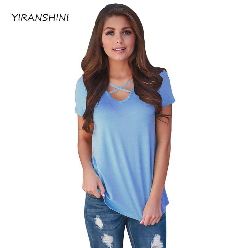 YIRANSHINI 2018 Cielo Blu di Modo Sexy Della Signora Magliette Manica Corta V-Collo Rotondo Floreale Stampato Casual Delle Donne T-Shirt LC250067