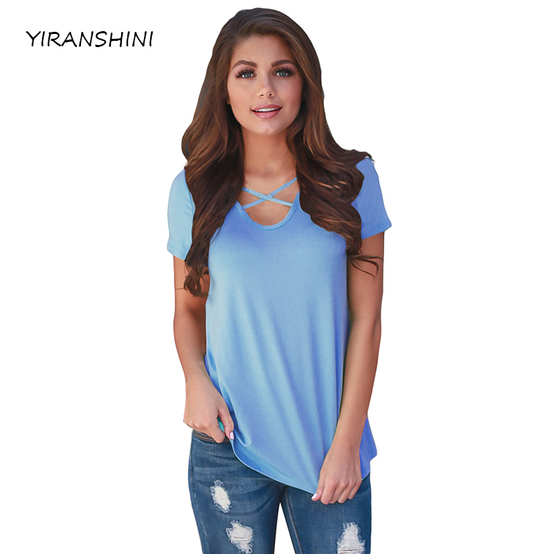 YIRANSHINI 2018 Mode Ciel Bleu Sexy Lady T-shirts À Manches Courtes V-Col Rond Floral Imprimé Casual Femmes T-shirt LC250067