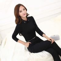 Novelty Black Ladies Office Uniform Styles Female Pantsuits Tops And Pants With Shirts Blouses Women Trousers