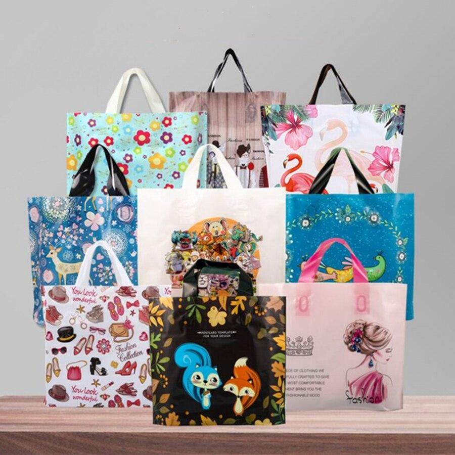 25Pcs Lovely Pretty Pattern Plastic Christmas Gift Handbag Shopping Bags 15x20cm