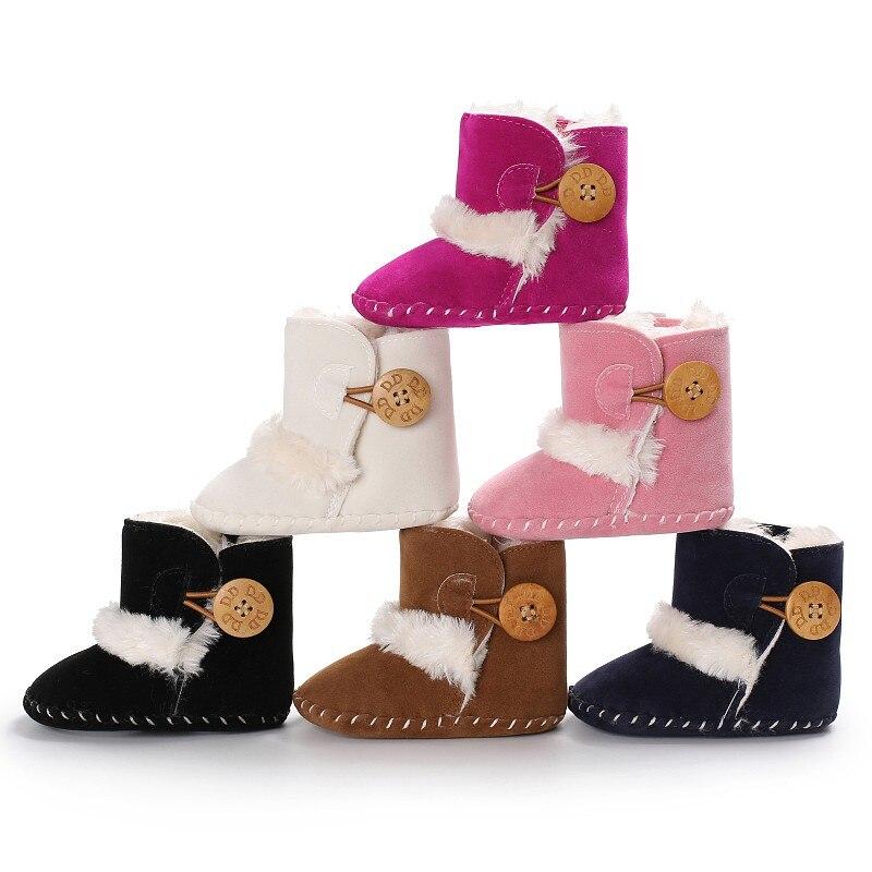 תינוק בני בנות נעליים עם סוליות גומי נעלי Snowfield כפתורי עץ ראשון הליכונים יילוד פעוט חם
