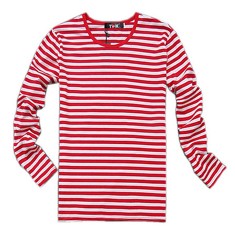 Navy style long sleeve shirt men T shirt o neck stripe t shirt men ...
