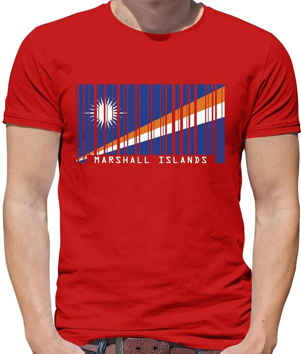 Print T Shirt Mens Short Sleeve Hot Marshall Islands Barcode Style Flag - Mens Crewneck T-Shirt - 7 Colours T-Shirt