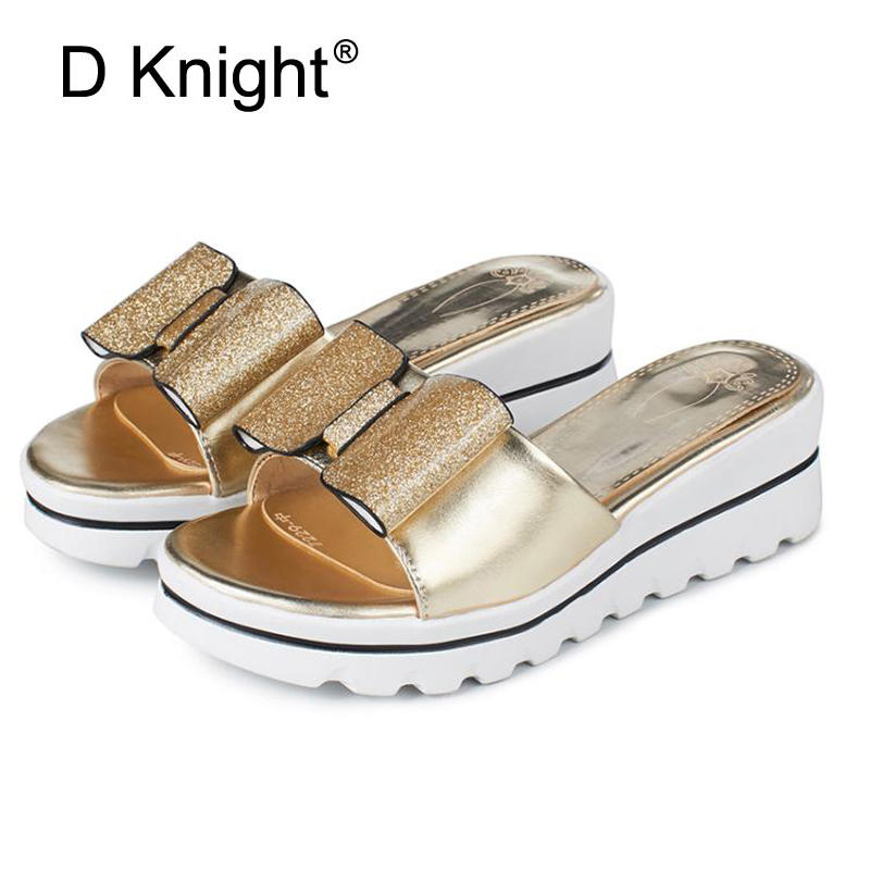 Glitter Bow Slippers Summer Beach Wedges Sandals Casual Platform Shoes Woman Bling High Heels Flip Flops Women Shoes Gold Silver phyanic 2017 gladiator sandals gold silver shoes woman summer platform wedges glitters creepers casual women shoes phy3323