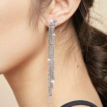 Bohopan 2019 Luxury Long Dangle Earrings For Women Shine Rhinestone Drop Elegant Wedding Party Earings Fashion Jewelry