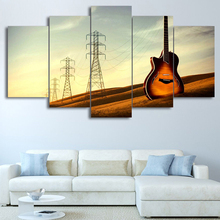 HD Canvas Printed Wall Art Modular 5 Panel Guitar Music Landscape Poster Frame Modern Home Decor Living Room Pictures Painting