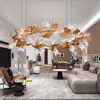 Modern Copper Maple Leaf Led Chandeliers Lighting Lustre Crystal Living Room Led Pendant Chandelier Lights Fixtures For Bedroom