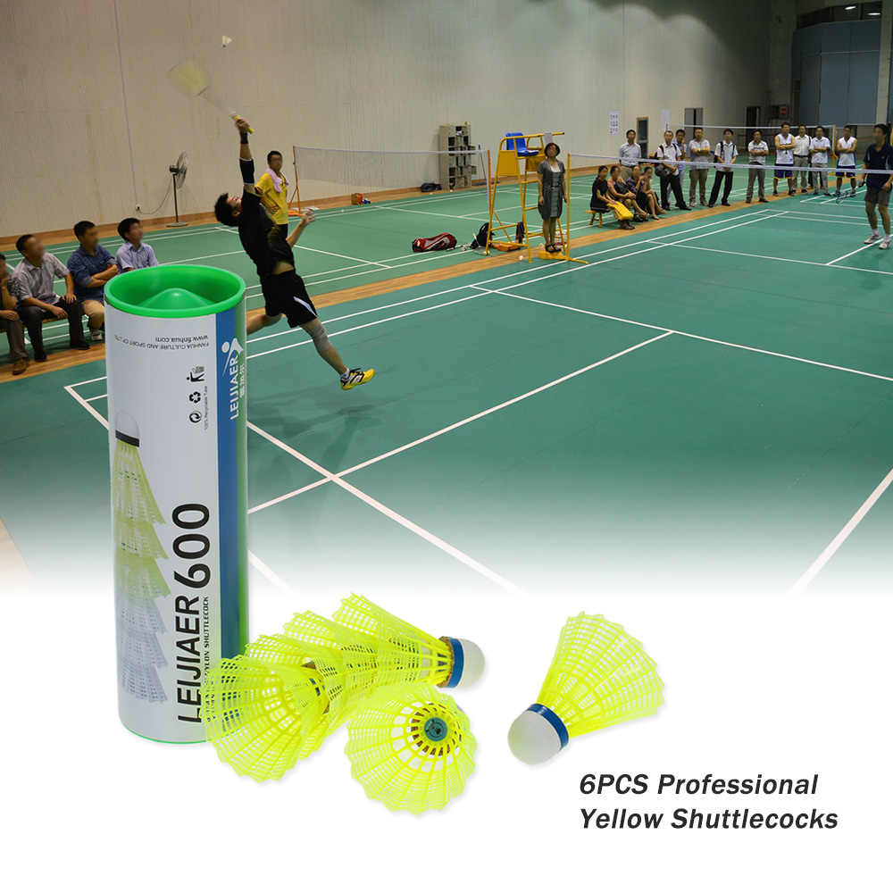 6PCS Professional Badminton Ball Yellow Feather Nylon Shuttlecocks Birdies Indoor Outdoor Sports Practice Training Shuttlecocks