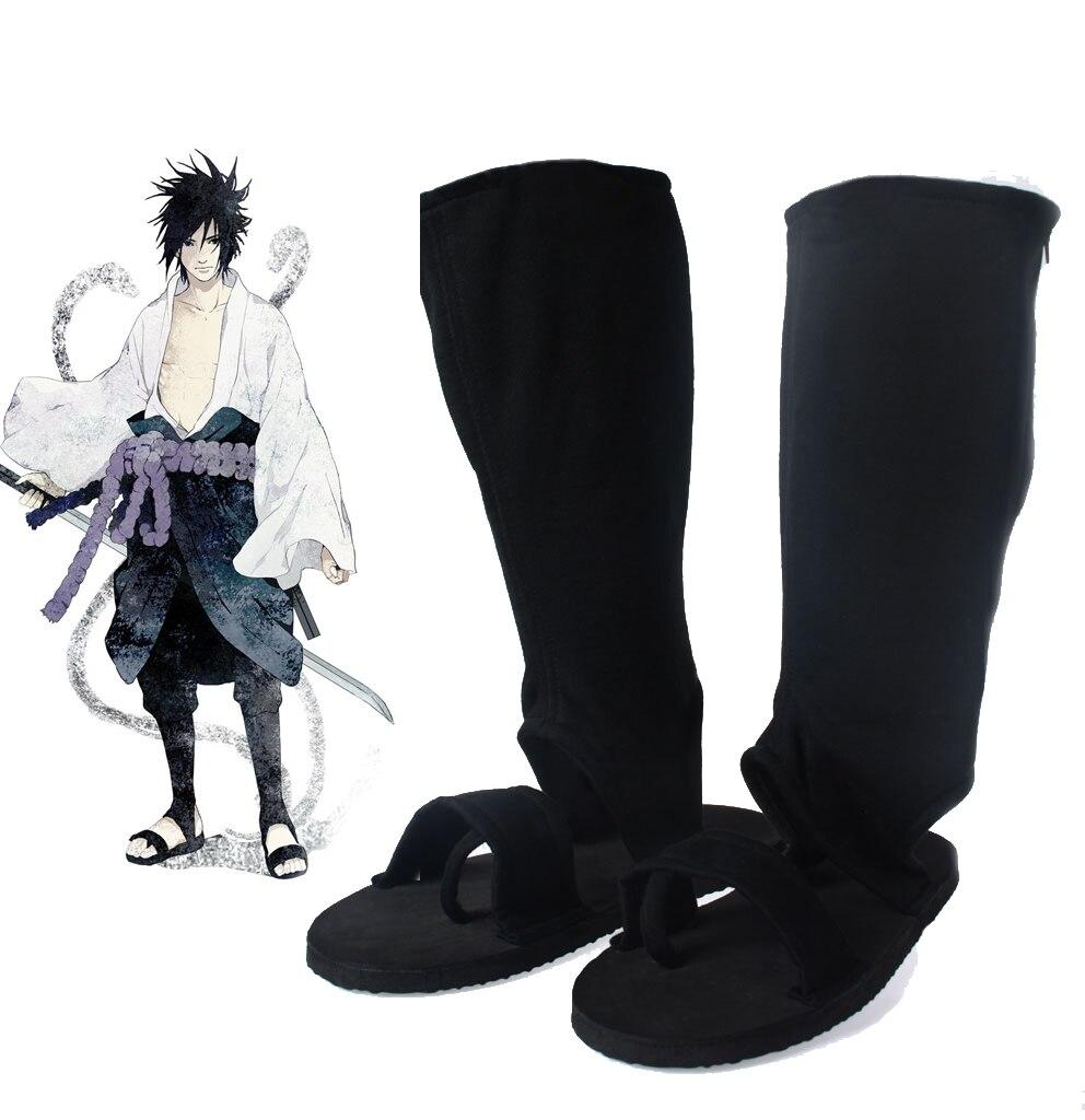 Free Shipping font b Naruto b font Shippuden Sasuke Uchiha Adult Black Ninja Shoes Anime font