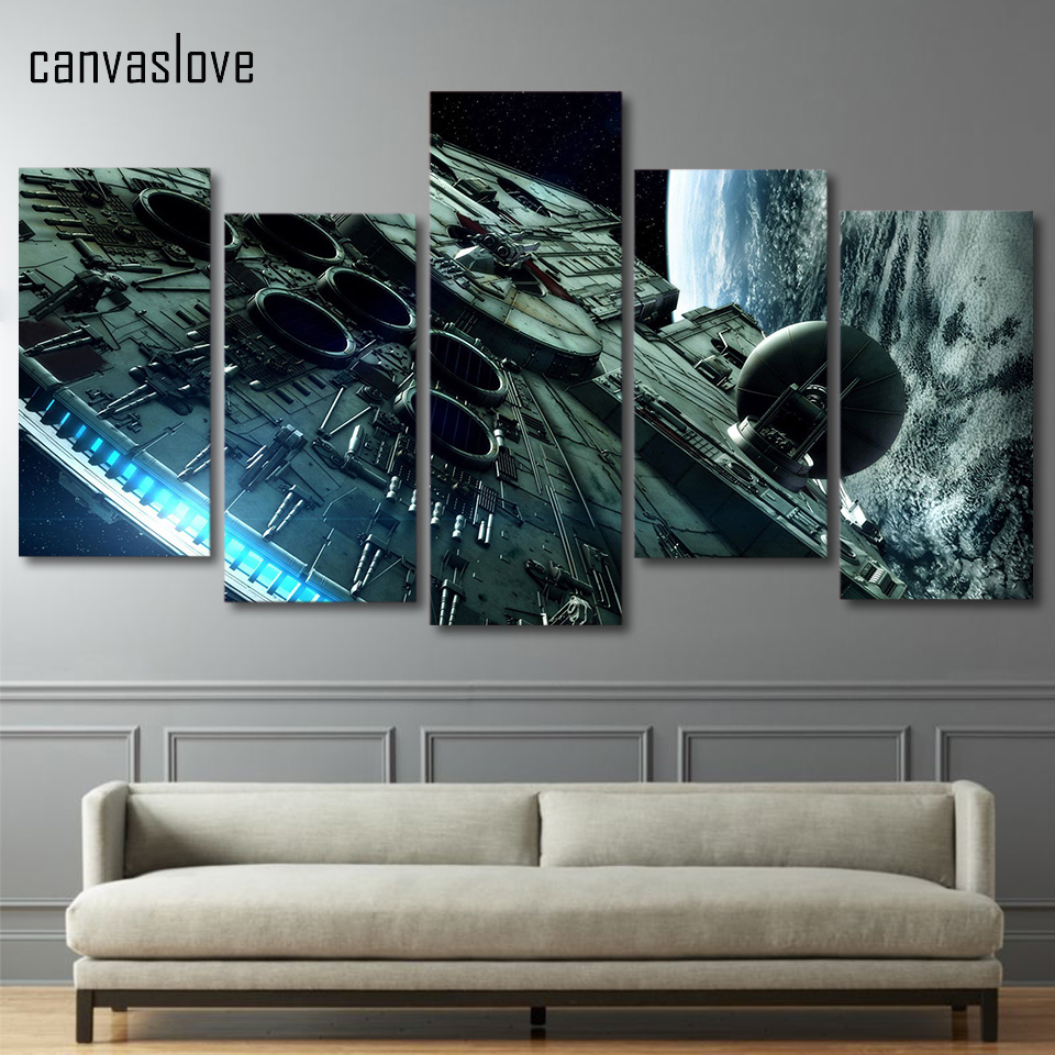 star wars wall art 5 pieces canvas painting printed wars millennium 11702