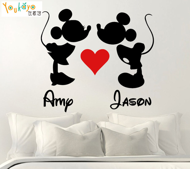 Personalized Name Valentines Day Mickey Minnie Kissing Love Heart Sticker Decal Romantic Decor