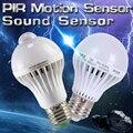 Pir motion sensor de luz 5 w lâmpada led 7 w leds 9 w auto inteligente lâmpadas de diodo emissor de luz ou de som voz luz e27 motion sensor de luz led lâmpada
