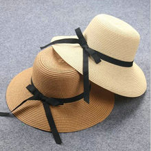 Block sun child baby Girl boy adult male female summer hat British retro bow  princess curling straw beach hat lm10 7d8a463a96c8
