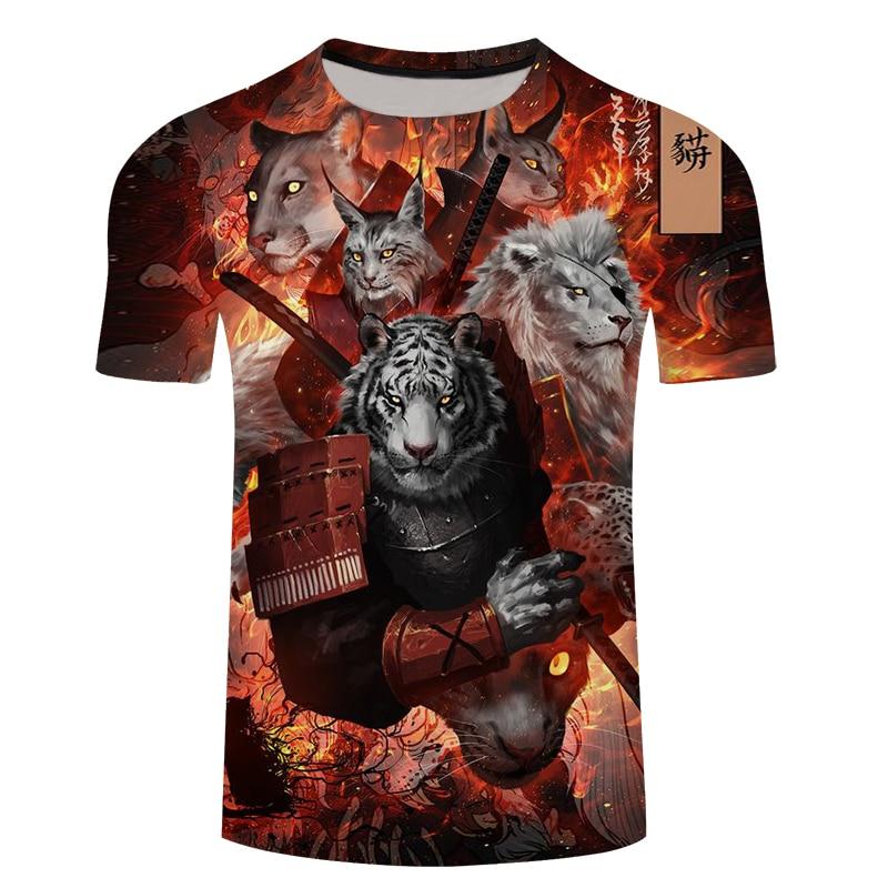 Novelty 3D Printed Mens Tiger T Shirt Summer Fashion T-Shirt Men Short Sleeve Casual Compression Harajuku Plus Size Tshirt Tops