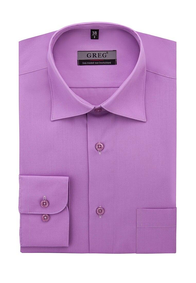 Shirt men's long sleeve GREG 720/319/LDARK/Z Lilac plus size bird and floral print v neck long sleeve t shirt