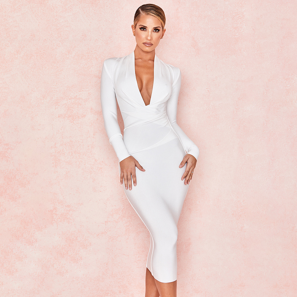 Solid White Bandage Bodycon Dress 2019 New Sexy Deep V Neck Party Club Dress Knee Length Plus Size Dress XL Wholesale