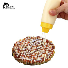 FHEAL 4-Hole Squeeze Type Sauce Bottle Safe Silicone For Ketchup Jam Mayonnaise Olive Oil Salad dressing Storage Bottle