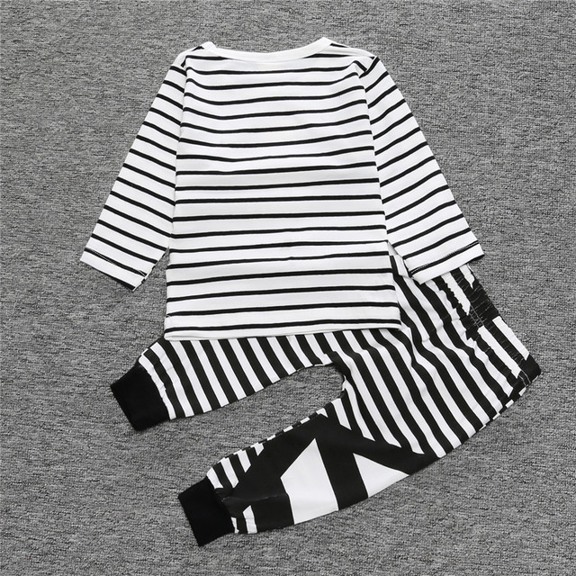 2018 Spring Baby Boys Clothes Suits Stripe Hey You T-Shirts Pants Fashion Girls Outfits 2pcs Clothing Sets Children Jumpsuits