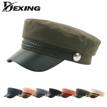 67d3d2917ed Casual Cotton Military Cap Man Woman Pu Leather Beret Flat Hats Captain Cap  Trucker Vintage Black · 6 Colors Available