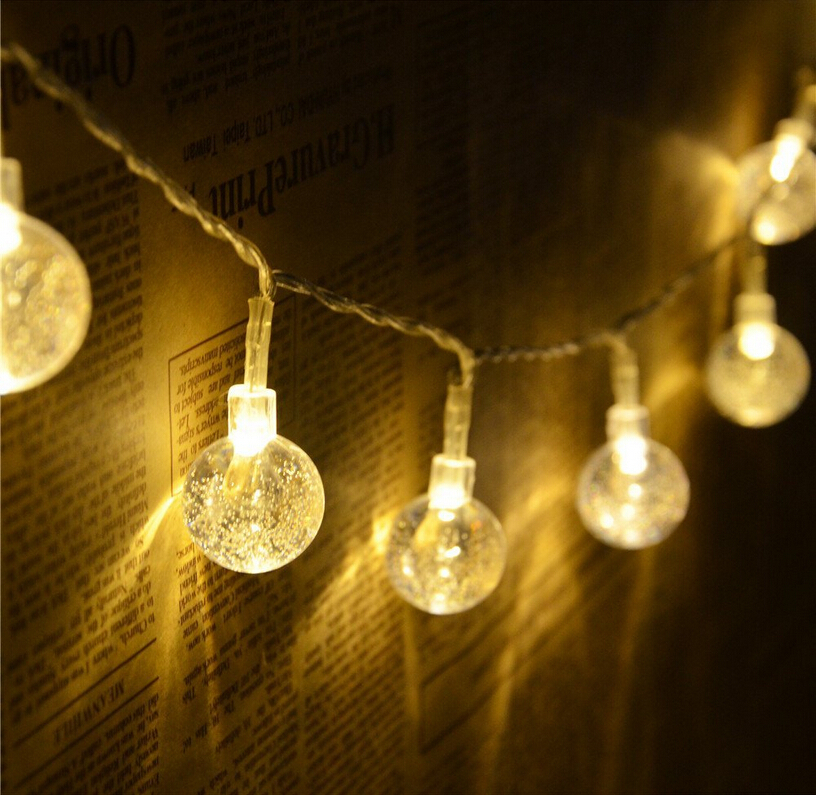 Novelty Battery Operated 20 Led Crystal Ball String Light Ambiance Lighting For Outdoor Patio Pathway Party