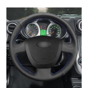 Image 2 - Housse de volant de voiture en cuir artificiel noir cousu main pour Lada Granta 2011 2012 2013 2014 2015 2016 2017 2018