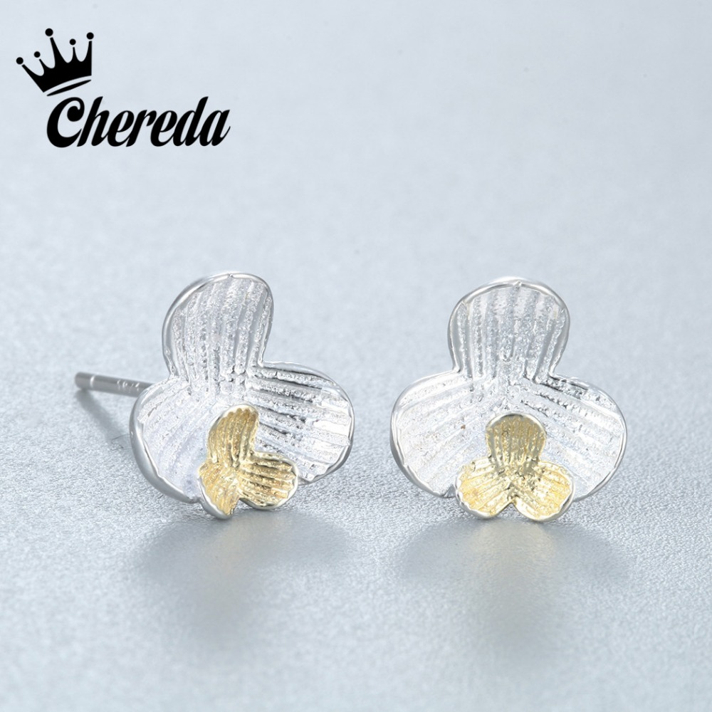 Chereda 925 Sterling Silver Petals of Love Double Flower Stud Earrings for Women High Quality Fine Jewelry