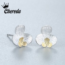 Chereda  Petals of Love Double Flower Stud Earrings for Women High Quality Fine Jewelry