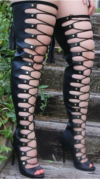 Black sexy thigh high hollow out high heel women boots elegant fish mouth lace-up nightclub boots strappy shoes woman free shipp