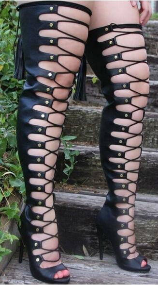 Noir sexy cuisse haute évider haut talon femmes bottes élégant poisson bouche à lacets discothèque bottes chaussures à bretelles femme livraison gratuite