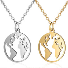 High Polish Stainless Steel Globe World Map Pendant Necklace For Women Earth Day Best Friend Wanderlust Outdoor Necklace(China)