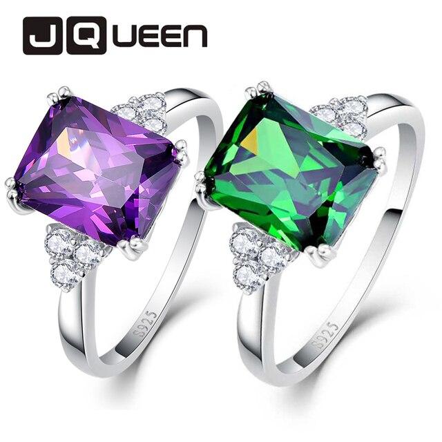 2018 Women Wedding Gemstone Rings 5.25ct 925 Sterling Silver Ring Amethyst Emera