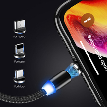 1m Magnetic Cable Micro USB Type C Lighting Charger Fast Charging Charge USBC/TypeC Wire For iPhone Samsung