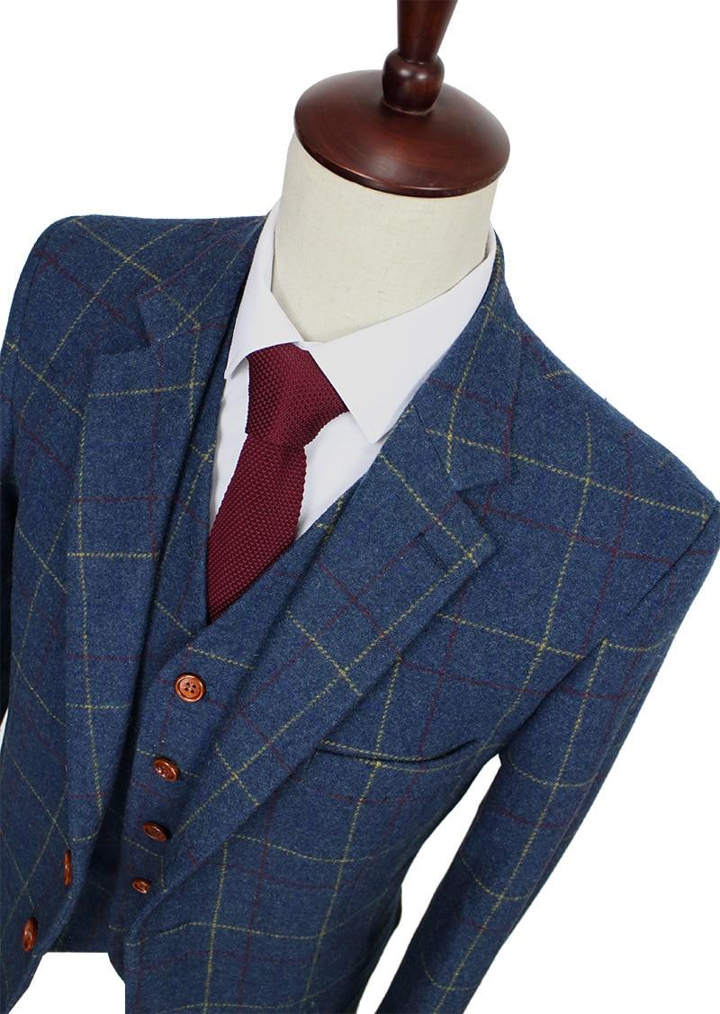 Шерстяной синий Ckeck Твид на заказ мужской костюм блейзеры Ретро сделанный на заказ Узкий покрой свадебные костюмы для мужчин 3 шт