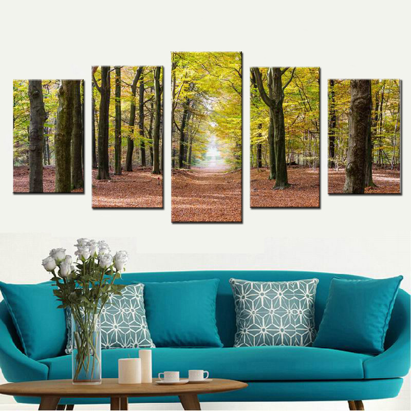 5 Panel Modern Printed Tree Painting Picture Autumn Forest Landscape Canvas Printings Waterproof Artwork Wall Picture Unframed