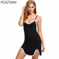 POGTMM Women Nightgown Summer Sexy V Neck Sleepwear Spaghetti Strap Backless Female Nightdress Split Lace Hem
