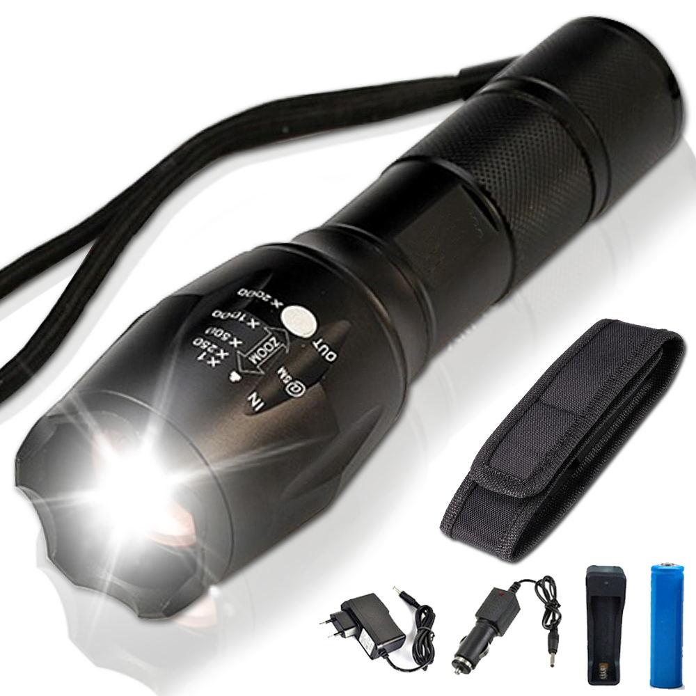 8000 Lumens X900 lampe de Poche Super T6 Torche Haute Puissance Réglable LED lampe de Poche + DC/Voiture Chargeur + 18650 Batterie + étui Titulaire