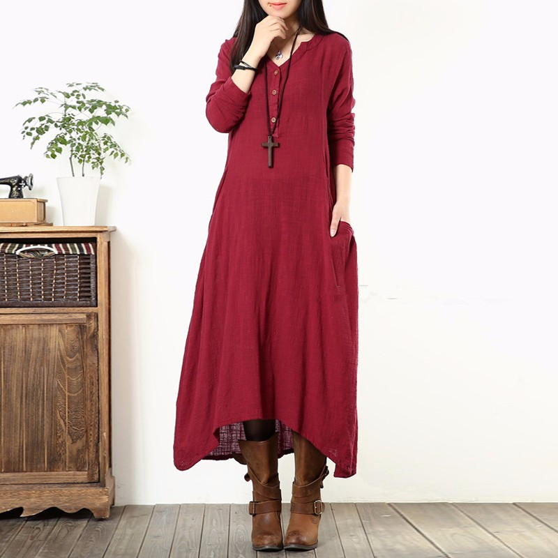 2018 Custom colors Maternity Clothing Women Casual Loose Square Collar Long Sleeve Pregnant Vestidos Maxi Long DressT41