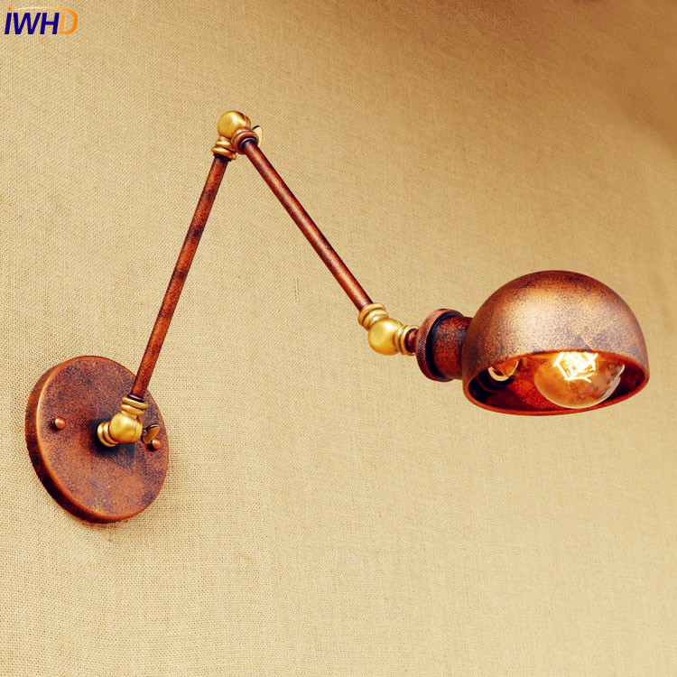 Rust Loft style Industrial Wall Light Fixtures Wandlampen Swing Long Arm Vintage Wall Lamp Retro Sconces Appliques LED Pared swing long arm wall light rustic retro loft style industrial wall lamp vintage wandlamp edison wall sconces appliques murales