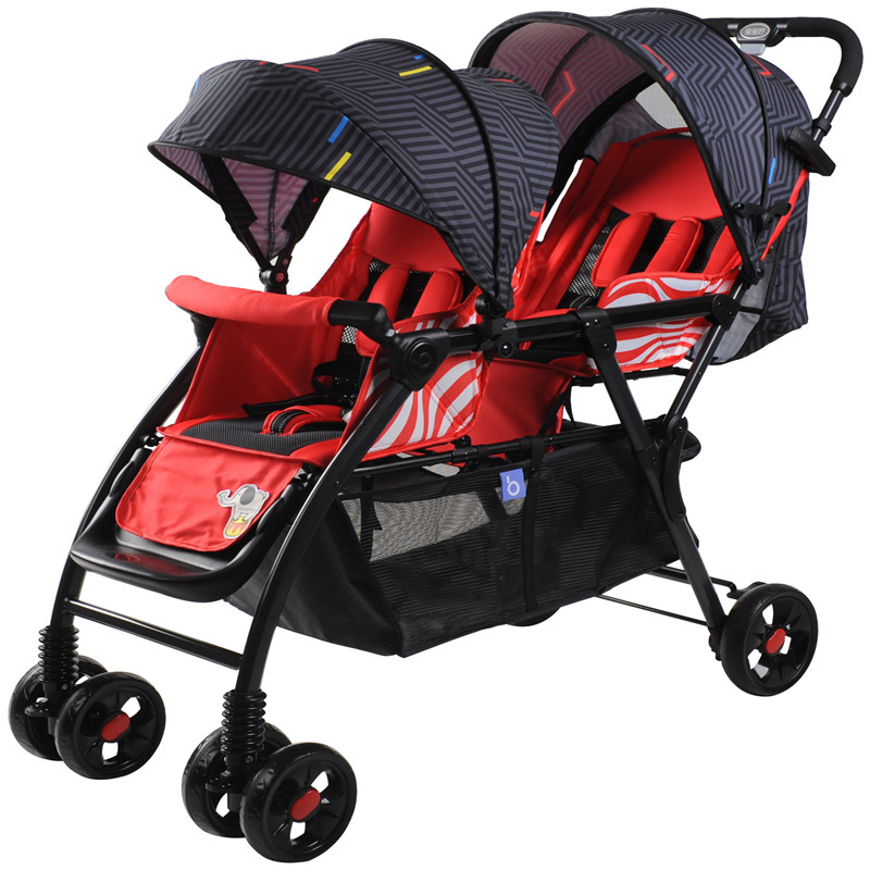 Baby stroller double front and rear seat stroller can be flat lying in winter and summer dual-use twin baby stroller musical 2 in 1 lion baby walker and can use as seat