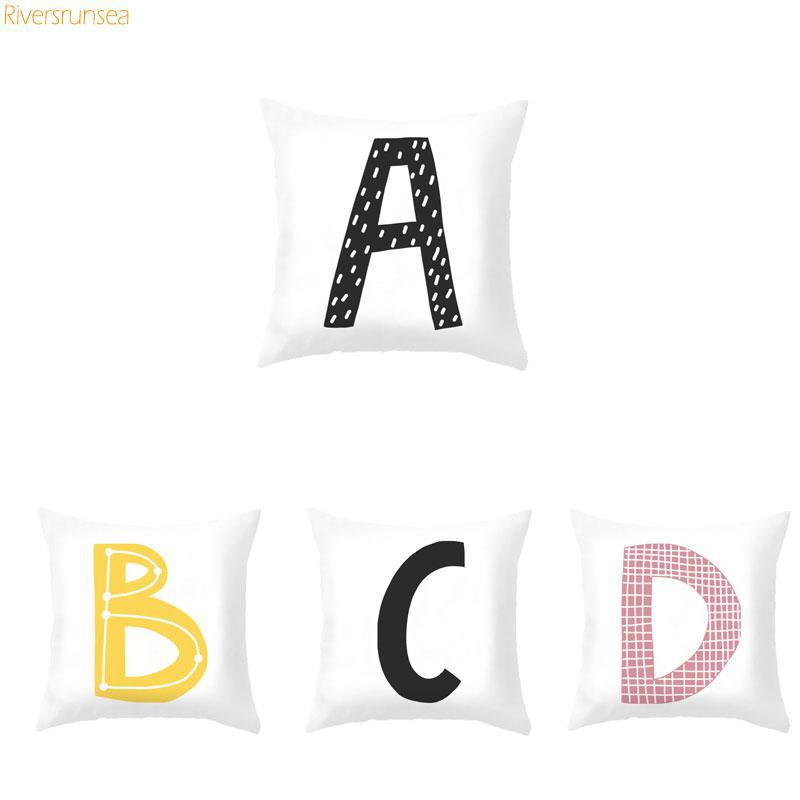 Diy Custom 26 English Letter Pillow Alphabet Cushion Soft Plush Color Print Combination Child Abbreviated Name For Kids Gifts