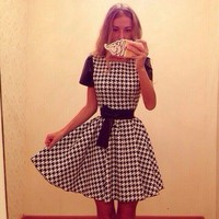 Womens Hot New Houndstooth Color Block Patchwork Short Sleeve Belted Bow Know Summer Casual Party Ball