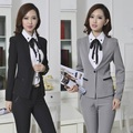 New 2015 Formal Uniform Design Pantsuits Autumn Winter Jacket And Pants Professional Business Work Wear Suits For Office Ladies